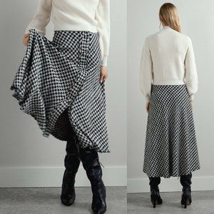 Zara Houndstooth A-Line Midi Long Skirt